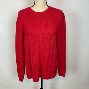 Lands' End red ribbed sweater/size L